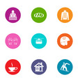 clammy icons set flat style vector image vector image
