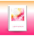 cover of diary or notebook with ring spiral binder vector image vector image