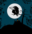 Crow on Tree Branch with Full Moon and Spooky vector image vector image