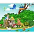 Cute animals living by the river vector image vector image