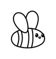 cute flying bee cartoon on white background thick vector image vector image