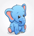 cute infant blue elephant sitting and smiling baby vector image vector image