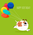 dog running with air balloons card vector image vector image