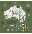 Doodle Australia map on green chalkboard with pins vector image vector image