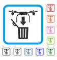 drone drop trash framed icon vector image vector image
