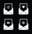 Envelope with icon on black vector image