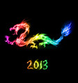 fiery rainbow dragon on black background for vector image vector image