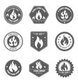 Fire shop emblems icons set black vector image vector image