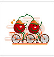 funny red cherries in caps ride a tandem bicycle vector image vector image