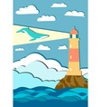giant whale with mountains and lighthouse vector image vector image