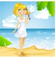 Girl in a white dress with sunglasses on beach vector image vector image