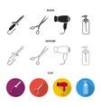 hairdryer hair dryer lotion scissors vector image vector image