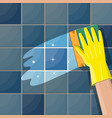 hand in gloves with sponge wash wall vector image vector image