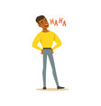 happy black man laughing out loud colorful vector image