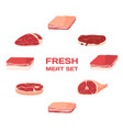 isolated freash meat set butcher shop vector image
