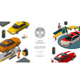 isometric auto repair service template vector image vector image