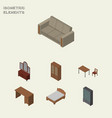 isometric furnishing set of table cabinet vector image vector image
