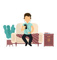 man is sitting on couch and listening to music vector image