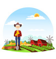 man or grandfather farmer at farm vector image vector image
