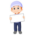 muslim boy with sign board vector image