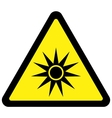optical radiation warning sign vector image vector image