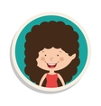 round frame and girl smiling with curly hair vector image vector image