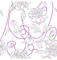 seamless pattern white pink peony vector image