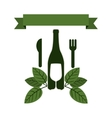 set bottle wine and goblet with leaves and cutlery vector image vector image