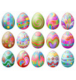 Set of colorful decorated easter eggs isolated on