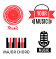 Set of four graphic monochrome music logotypes vector image vector image