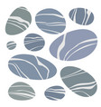 set smooth gray stones color flat icons vector image