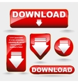 Shiny minimal red download now button collection vector image