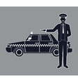silhouette cab car driver working service public vector image vector image