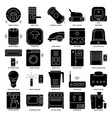 smart home appliances silhouette icon set in flat vector image