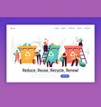sorting trash for recycle landing page vector image