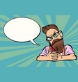 stylish bearded hipster with glasses sceptical vector image vector image