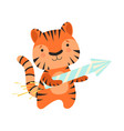 tiger with a party popper cute cartoon animal vector image