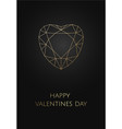 valentines card on black background with polygonal vector image vector image