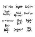 Welcome thank you enjoy super good morning vector image vector image