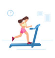 woman running on motorized treadmill sportive vector image