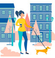 woman walking a dog dachshund walk with a coffee vector image vector image