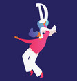 young woman dancing with white letter d english vector image vector image