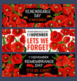 11 november remembrance day poppy banners vector image