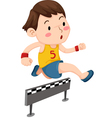 a boy jumping hurdle isolated on w vector image vector image