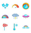 bad weather icons set cartoon style vector image vector image
