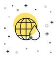 black line earth planet in water drop icon vector image vector image