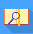 book on magnifier icon flat style vector image vector image