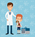boy with dog and veterinary doctor characters vector image vector image