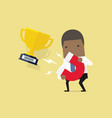 businessman attracting trophy with a large magnet vector image vector image