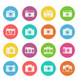 camera icon flat style set vector image vector image
